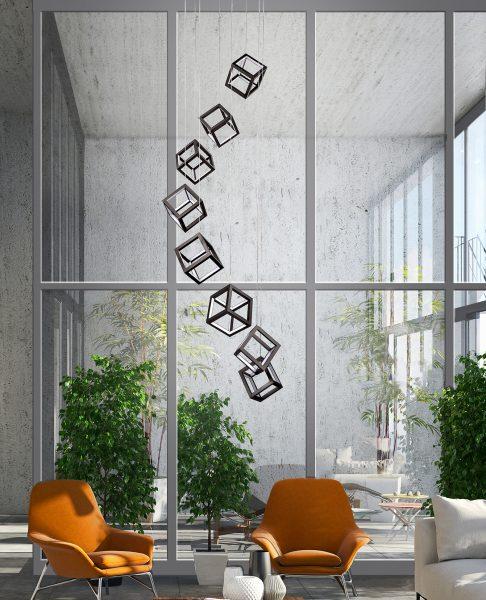 moderny deizajnovy luster kocky