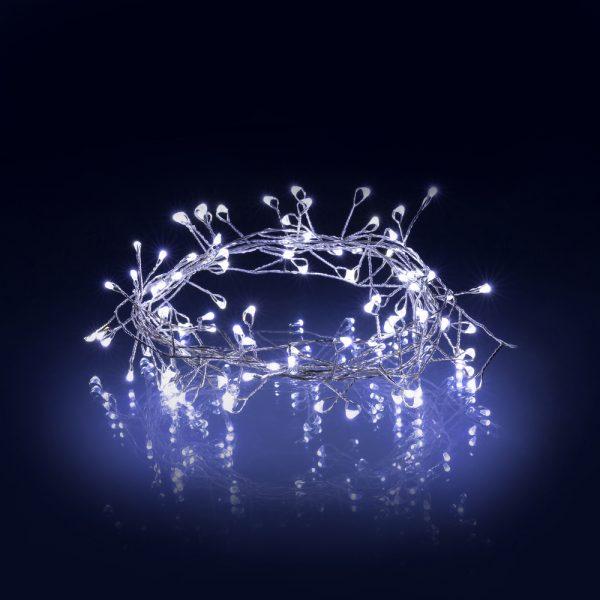Vianočné osvetlenie 100 LED -studená biela Nano reťaz 2,4m, časovač 6/18 h RXL 276
