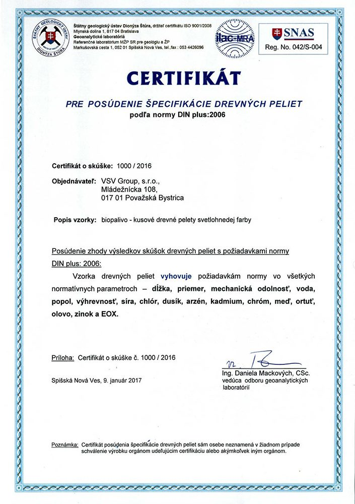 certifikát pre posúdenie špecifikácie drevené pelety